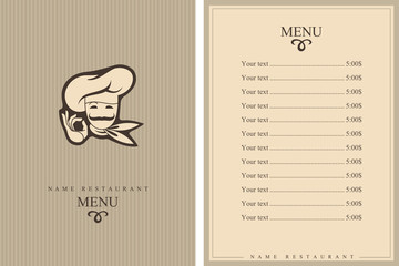 chef menu design with whiskered cook