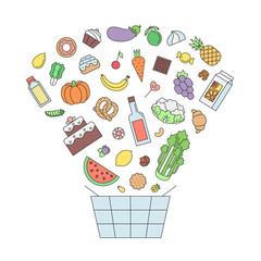 Shopping food basket (grocery shop) outline illustration.