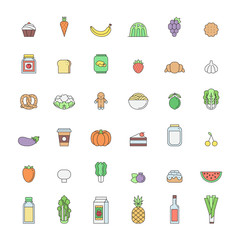 Food and drinks outline icon set (multicolor). Simple design.