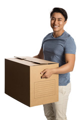 A man in his 20s wearing a blue shirt and pants, packing and carrying a cardboard box. White background.