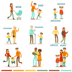Happy Large Family With All The Relatives Gathering Including Mother, Father, Aunt, Uncle And Grandparents Illustrations With Corresponding Words