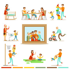 Happy Family Doing Things Together Illustration Surrounding Big Family Portrait Picture