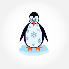 Vector illustration of cartoon penguin on ice, isolated on white background