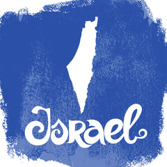 Israel. Grunge blue vector background with lettering and map.