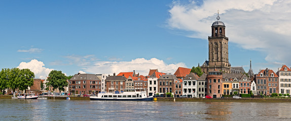 Panoramic view of the medieval Dutch city Deventer with the Grea