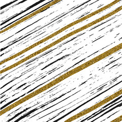 abstract background with diagonal black and gold lines, vector striped wallpaper