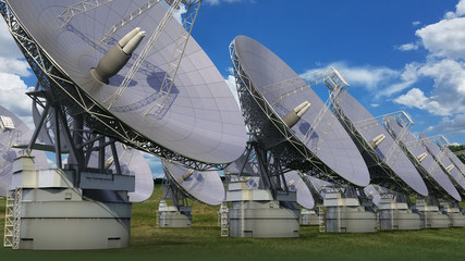 3D Illustration of a satellite dish array against a blue sky
