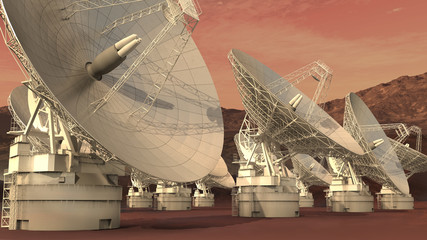 3D Illustration of a satellite dish array on an alien red planet