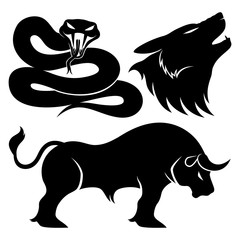 Snake, wolf and bull.