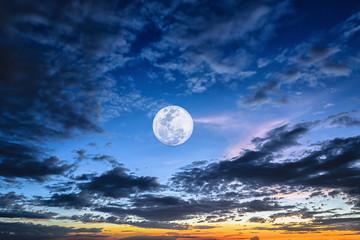 Night time full moon evening twilight sky Fotoväggar