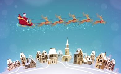 Christmas, vector illustration. Santa Claus rides in sleigh pulled by reindeer over city