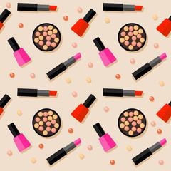 Flat cosmetic seamless pattern background.