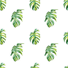 Seamless watercolor illustration of tropical leaves, dense jungle. Hand painted. Banner with tropic summertime motif may be used as background texture, wrapping paper, textile or wallpaper design.