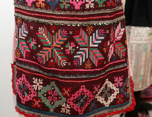 authentic folk-style details of costumes from Bulgaria
