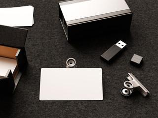 Business cards on leather background. 3D illustration