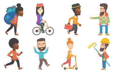 Vector set of tourists and business characters.