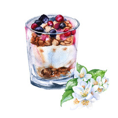 Yogurt with berries and oatmeal. Insulated. Watercolor sketch.
