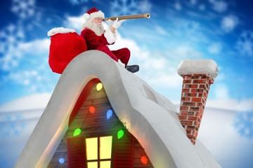 Digitally generated image of santa claus looking through telesco