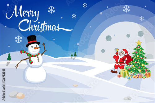Merry Christmas greeting card with Santa Claus, gift decorated ...