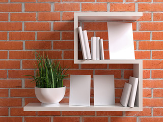 White shelf with blank group several picture frame for your design, photo, image or text. Canvas blank mock up template with plant and books on red brick background in loft interior. 3d illustration