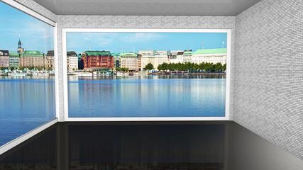 Penthouse in Hamburg mit Alsterblick