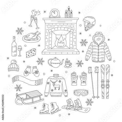 winter activity icons hand drawn doodle vector illustration ski and snowboard equipment. Black Bedroom Furniture Sets. Home Design Ideas