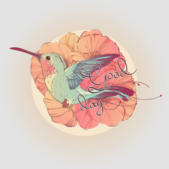 Tropical colorful bird colibri in multicolored flowers poppies and lettering good day. Hand drawn vector illustration.