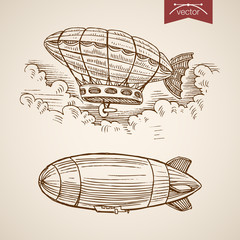 Engraving vintage hand drawn vector flying airship Pencil Sketch