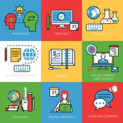 Linear Flat Online University Training Library vector Education