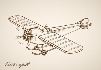 Engraving vintage hand drawn vector Air transport plane doodle