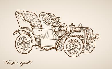 Engraving vintage drawn vector automobile passenger transport