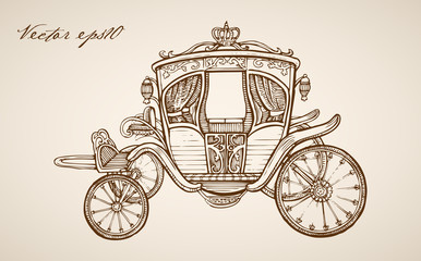 Engraving hand vector carriage Pencil Sketch transport