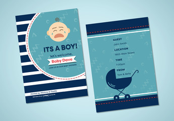 Illustrated Baby Shower Invite Layout 2