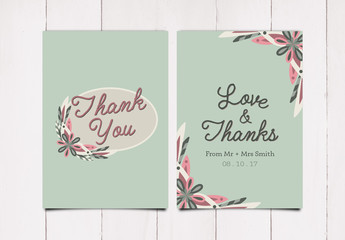 Simple Floral Thank You Card Layout 2