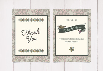 Simple Floral Thank You Card Layout 1