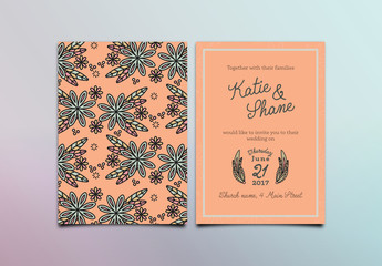 Simple Floral Wedding Invitation Layout 1