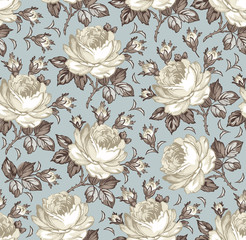 Seamless classic pattern. Beautiful  isolated flowers textile. Vintage background realistic blooming floral. Rose Drawing engraving freehand. Wallpaper baroque Vector victorian style Illustration.