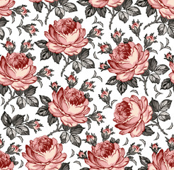 Seamless classic pattern. Beautiful pink isolated flowers textile. Vintage background realistic blooming floral. Rose Drawing engraving freehand. Wallpaper baroque Vector victorian style Illustration.