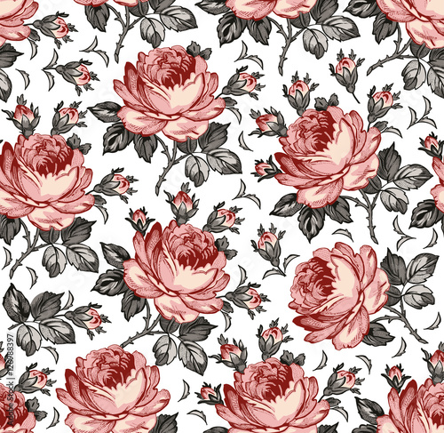 Seamless Classic Pattern Beautiful Pink Isolated Flowers Textile