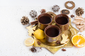 Chtistmas winter tea with ginger, anise, sugar, cinnamon, orange