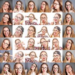 collage di  donna con diverse espressioni