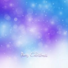 Christmas card with blur lights and snowflake