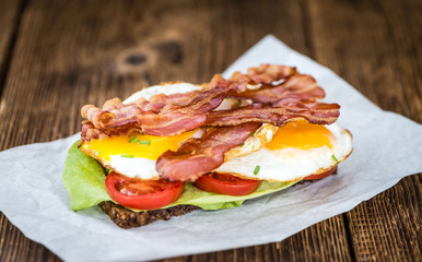 Wooden Table with Bacon and Eggs