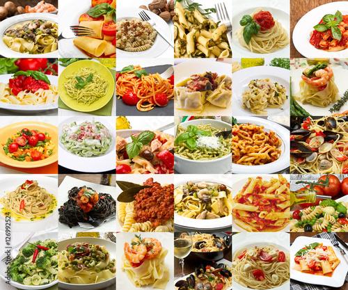 Collage di differenti primi piatti di pasta della cucina for Primi piatti cucina romana