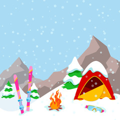 Winter Camp Mountains Landscape with Tent, Fireplace and Skiing Equipment. Vector background