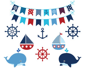 Nautical navy blue and red set of whales, boats, buntings
