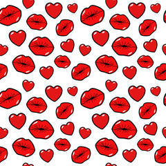 Lips Kiss and Heart Seamless Pattern. Love Background in Retro Fashion Style. Vector illustration