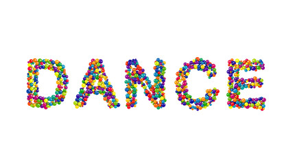 DANCE formed from colorful balls