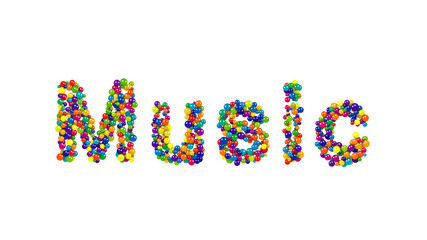 Music formed from colorful balls over white