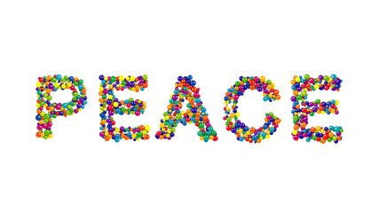 Colorful spheres forming the word peace